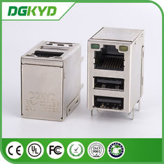 China Conector del gigabit RJ45 blindado con USB doble, Jack registrado 45 fábrica